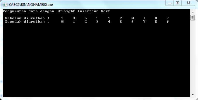 output-program-straight-insertion-sort