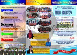 desain brosur PMB 2018 Unvic Sorong (belakang) ukuran A4