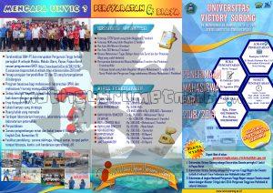 desain brosur PMB 2018 Unvic Sorong (depan) ukuran A4