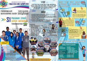 desain poster brosur PMB 2019 Fakultas Ilmu Komputer Prodi Sistem Informasi Unvic Sorong ukuran A4