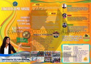 desain poster brosur PMB 2019 Fakultas Ilmu Sosial Prodi Adm Publik Unvic Sorong ukuran A4