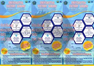 desain selebaran brosur PMB UNVIC Sorong 2018 (depan) ukuran A4