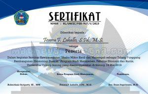 desain sertifikat piagam seminar kewirausahaan 2019 ukuran A4