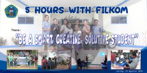 desain spanduk 5 hours with FILKOM ukuran 2x1 meter